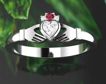 Ruby Claddagh ring. Diamond claddagh ring. Engagement ring. Gold claddagh. Available in 14K / 18K yellow, rose, white or platinum.