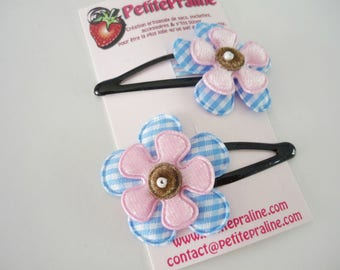 Flower hair clip barrettes in fabric