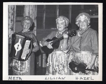 Vintage Snapshot Photo Three Older Women Musical Trio Accordion, Ukelele and Fiddle 1960's, Original Found Photo, Vernacular Photography