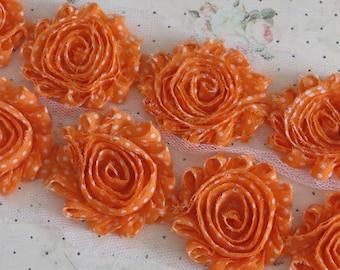 1/2  yard Orange with white Polka Dots Print 2 1/2 inch - Chiffon Shabby Rose Trim, Hair Bow. Chiffon Rosettes