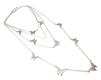 Silver Necklace with Small Butterfly Pendants Solid 925 Sterling Silver