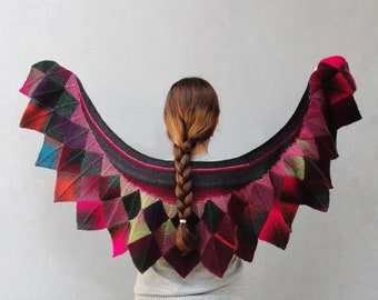 Knitted Wing Scarf Purple Magenta Green Scales Wrap Scarf. with Flocked Batik Fabric lining