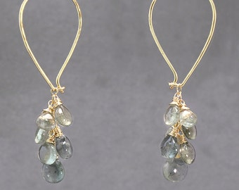 Teardrop cluster hoop earrings moss aquamarine, Carnivale 54