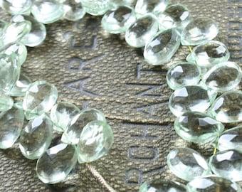 1/2 Strand Light Green Quartz Faceted Pear Briolettes