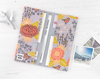 Boarding Pass Wallet // Travel Wallet In Exclusive Fabric - Birds // Animal Pattern // Passport Cover // Gifts For Women // Travel Gifts