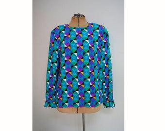 SALE   80s Multicolor Geo Print Blouse   80s Fashion