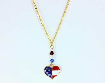 American Flag Heart Charm Gold Chain Necklace Patriotic Jewelry Red White and Blue Jewelry 4th of July Jewelry Stars Veterans