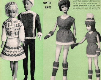 Barbie winter outfit PDF patterns / Barbie winter knitting patterns / Fashion Doll Nordic sweater patterns / Norwegian sweater