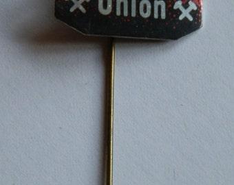1960's Red, Black and  Silver UNION Aluminium Stick Pin / Lapel Badge