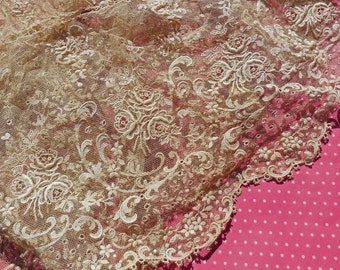 Antique Lace Vintage Lace Embroidered Tulle Lace Flounce Gorgeous