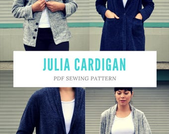 Julia Cardigan PDF sewing pattern and Sewing tutorial for women: Available in size 4 to 22 with a step by step printable sewing tutorial