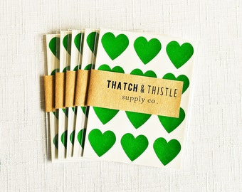 48 Pine Green Mini Heart Stickers - 3/4 Inch Envelope Seals Small Gift Wrapping Party Invitations Embellishment Pretty Packaging