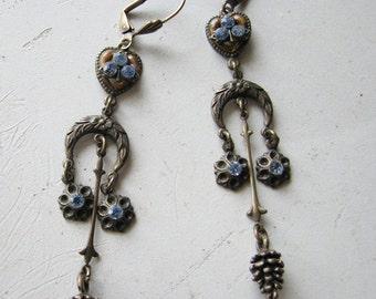 Chandelier earrings | dangle | blue rhinestone | vintage statement | crescent moon | brass | final sale