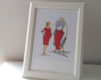 I look like a whale. - original lithography for expecting, pregnant women or new moms