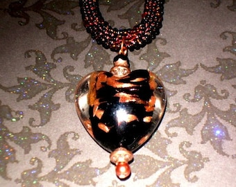 Black & Gold Murano Heart Pendant on Beaded Bronze Necklace