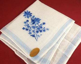 Vintage vintage Ladies Handkerchief ~ Embroidered  Floral Blue and White Handkerchief ~ Switzerland  ~ Sheer Cotton Hanky