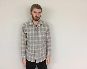60s Sir Pendleton Light Plaid Flannel Wool Shirt size LARGE ~ 35747