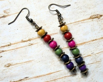 Rustic Boho Rainbow Earrings (3708)