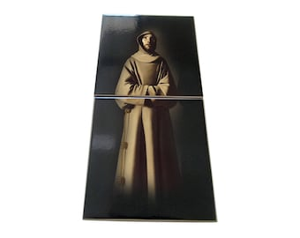Saint Francis of Assisi - saints serie - ceramic and wood icon - St Francis icon - catholic saints art