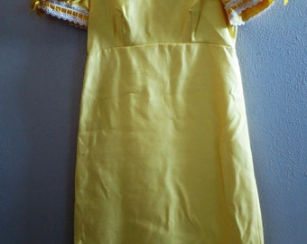 1960s Lemon yellow Empire Waist Dress - Gown - Petite - Small