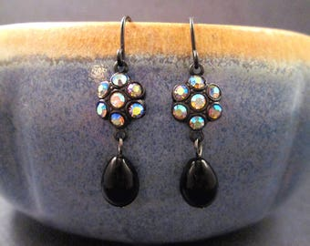 Black Drop Earrings, Vintage Iridescent Glass Flowers, Gunmetal Silver Dangle Earrings, FREE Shipping U.S.