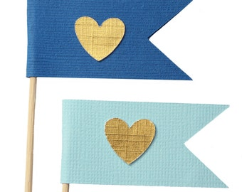 Blue and Gold Flag Heart Cupcake Toppers / Appetizer Picks / Food Picks /