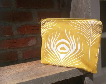 Knitting projectbag Yellow Featherprint.