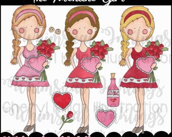 The Valentine Girls Clipart Collection- Immediate Download