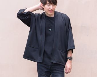 Men's Black Japan Kimono Cardigan, Man Noragi Coat, Oversized Street Haori Jacket, Unisex Streetwear, Loose Style Yukata Overcoat