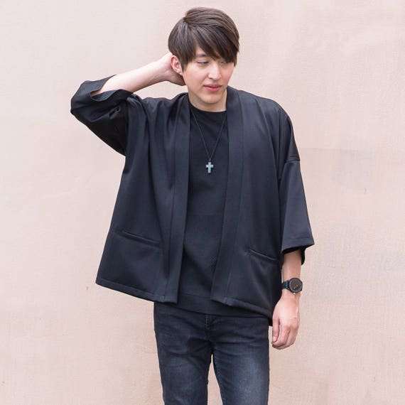 Men's Black Long Japan Kimono Cardigan, Man Noragi Coat, Oversized Street Haori Jacket, Unisex Streetwear, Loose Style Yukata Overcoat
