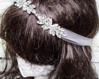 Whimsical Tulle Rhinestone Headwrap Wedding Headband; Rhinestone Bridal Tulle Tie; Chic Tulle Bridal Head Piece; Alternative Wedding Veil