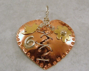 Mixed Metal Broken Mended Heart Pendant with bird, flower and swirl, customizable