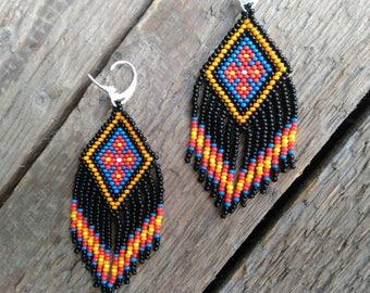 Native American Beaded earrings, seed bead earrings, Mexican earrings, boho earrings, fringe earrings