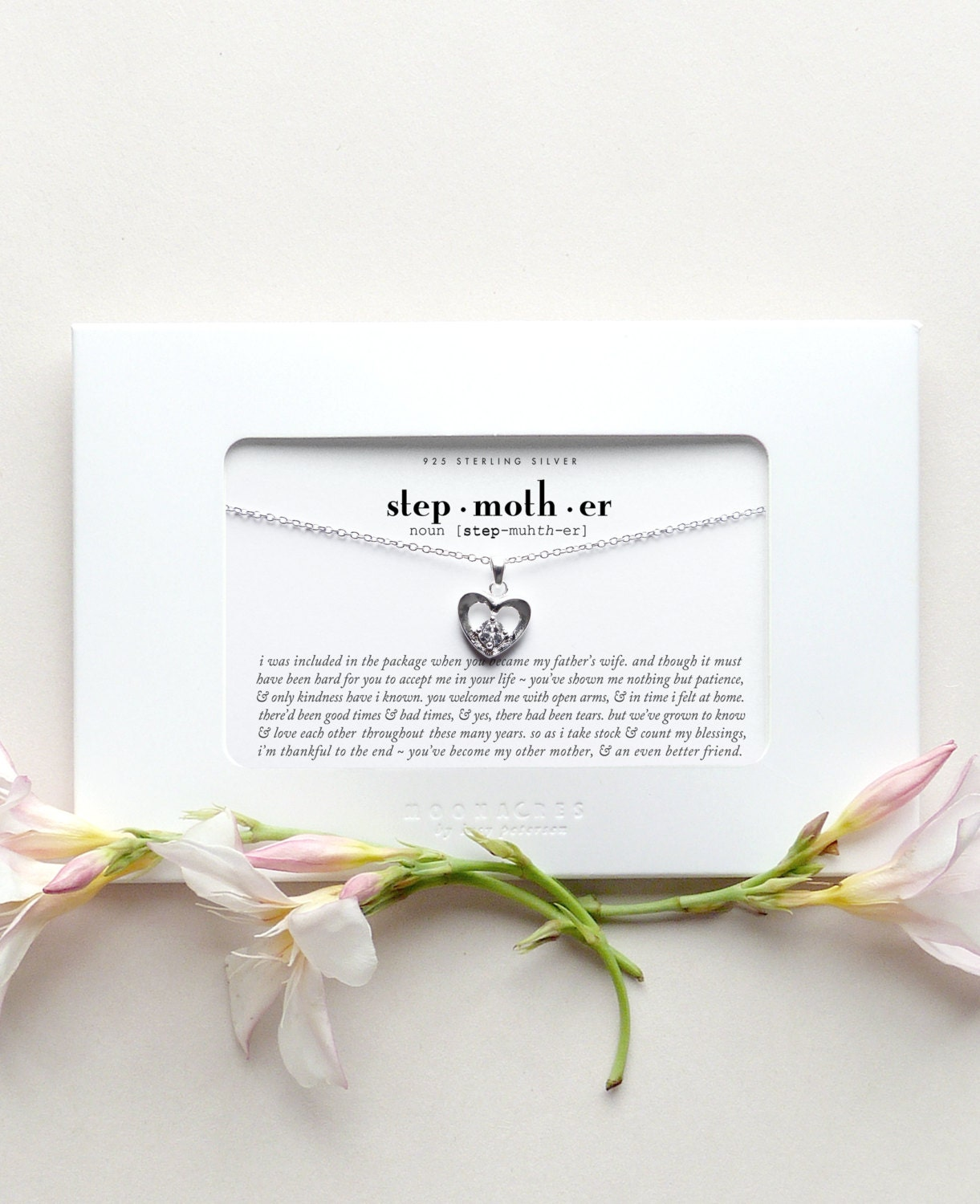 Stepmother Sterling Silver Heart Necklace Poem Quote