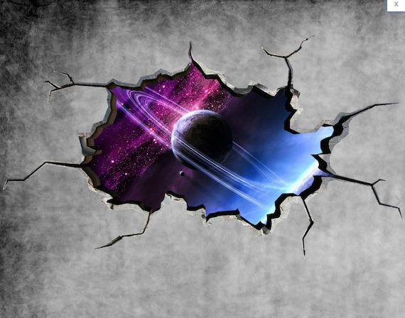 & Space Planet Galaxy Cracked Wall Sticker Stars Mural Decal