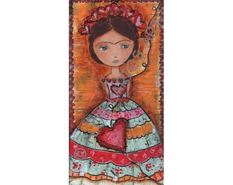 Frida y sus Corazones -  Print  from Original Mixed Media Folk Art Painting by FLOR LARIOS ( 5 x 10 inches)