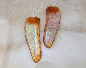 Dusty Pink Wide Dragonfly Wing Resin Earrings