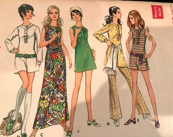 Ab Fab 1960's Dress, Pantdress and Fit and Flare Pants Pattern---Butterick 5707---Size 13 Bust 35 Petite UNCUT