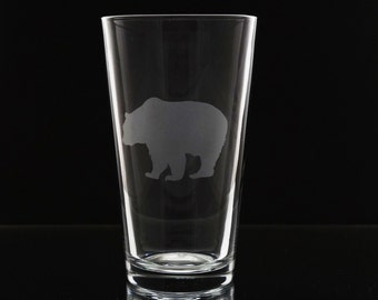 Bear Pint Drinking Glass- Etched Beer Glass- Pub Glass- Pint Glass- Etched Bear Glass- Beer Glass - Bear Glass - Etched Glass