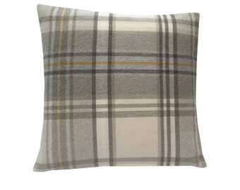 Strathmore tartan check faux wool Dove grey charcoal cream mustard Ochre yellow scatter cushion cover hand made in Britain