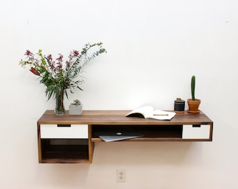 Floating Walnut Desk