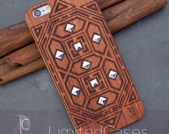 "Case for iphone 6plus, 6s Plus with real Rosewood edition, laser engraving ""rivets""-Special edition"
