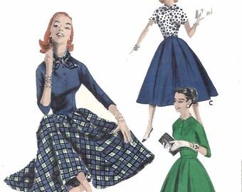 "Vintage 1950's Sewing Pattern Rockabilly Coordinates Circle Skirt Blouse & Scarf B 32"""
