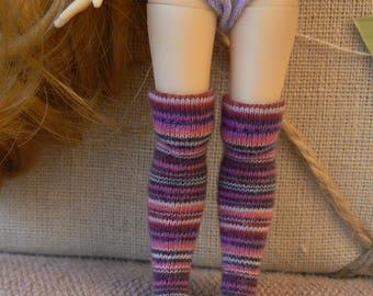 Rainbow Stripe Middie Blythe socks over the knee pink purple white Middie blythe clothes handmade in Paris France