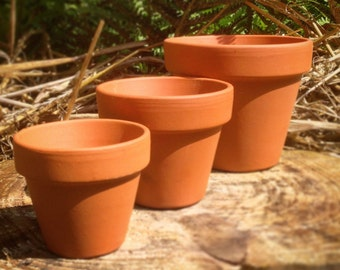 Medium Vintage Style Terracotta Plant Pots, 1~50 pcs