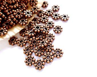 50 Antique Copper Daisy Spacers - 17-AC-1A