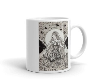 Autumn Solitary Witch Art Mug