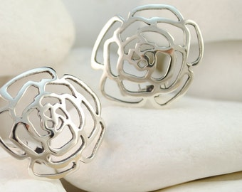 Rosebud Sterling Silver Clip-On Earrings - FREE Shipping