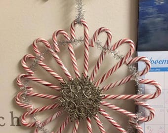 Candy cane silver christmas wreath