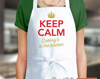 Granny Gift, Birthday Gift For Granny! Funny Apron, Keep Clam, Granny's In The Kitchen, Awesome Granny, Personalized Granny Gift